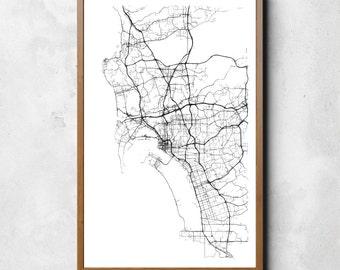 Map of San Diego | San Diego | San Diego Art | San Diego Map | San Diego Print | San Diego Decor | San Diego Gift