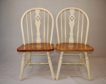 Smashing Pair of Painted Wheel Back Kitchen Chairs
