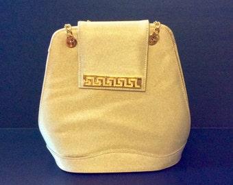 Peau de Soie Gold Shoulder Handbag with Gold Accents