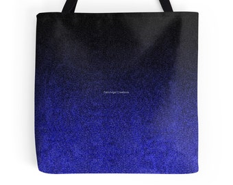 Blue and Black Glitter Gradient Tote Bag, 3 Sizes Available!