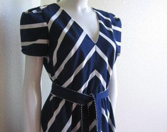 vintage 80s striped chevron dress- Adde II California blue & white dress s/m