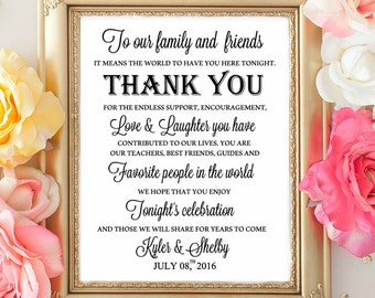 Wedding Table Sign Wecome , Thank you Signs.  To our Family and Friends Sign. Wedding decorations. TAble Signs. WEdding Reception Table sign