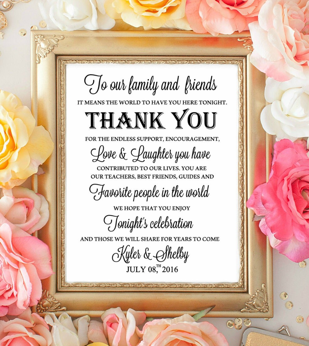 Wedding table sign wecome thank you signs to our family for Wedding table sign ideas