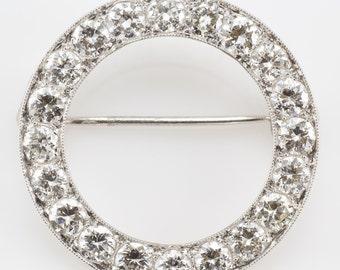 Vintage Platinum Diamond Black Star & Frost Circle Pin