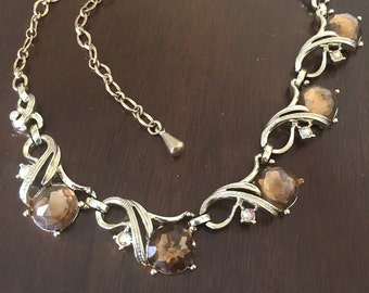 Vintage 1950s Sarah Coventry Amber Rhinestone Necklace, Vintage High Fashion Necklace