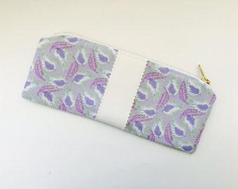 Handmade purple feather print makeup bag- clutch purse, pencil bag, cosmetic bag with faux leather detail-bridesmaid bag