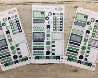 Green, Navy and Grey 3 Half Page Vertical Life Planner Stickers (8008H, 8009H, 8007H)