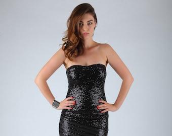 Black Sequin Mini Party Dress,  Strapless Sparkles Short Dress, Prom Dress