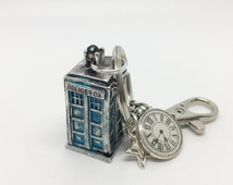 Police Box ~ battered blue police call box key ring or bag charm. Telephone box.