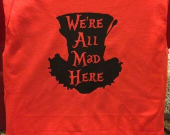Mad hatter tee, mens mad hatter tee, the mad hatter shirt, disney shirt, alice in wonderland shirt