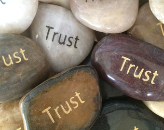 Engraved Stones / River Rocks with Inspirational Words - Gifts or Paper Weights - Trust