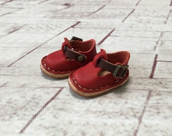 Real leather: miniature sabot shoes [Red] (for blythe)