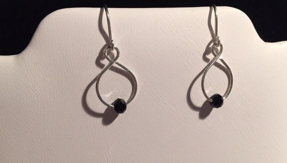 Sterling Silver Earrings with Black Crystals or Ceramic Beads. Solid 925 Sterling Silver Ear wires and Earrings. Lightweight Crazy 8 Design