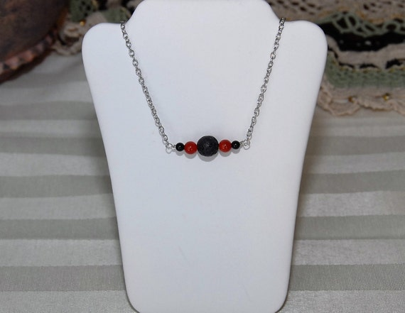 Diffuser Necklace. Inline Style with Lava Stone Beads for Essential Oils and Featuring Red Agate Gemstones. Lava Stone Oil Diffuser Necklace