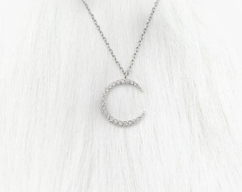 Midnight Moon Necklace - Silver