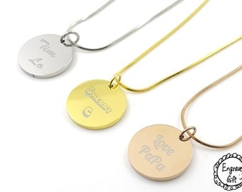 Personalized Engrave Women Round Disc Plate Necklace 316L Stainless Steel. Real Handwriting, Drawing, Logo, Text.