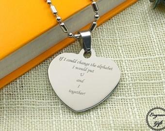 Custom Steel Heart Handwriting Necklace - Signature Jewelry - Handwriting Jewelry - Memorial Jewelry - Remembrance Jewelry