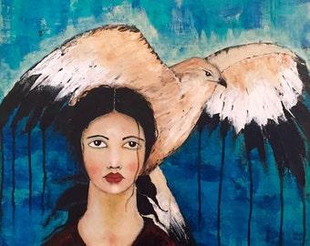 "Original Acrylic Folk Art Abstract Portrait Painting ""Aquilus"""