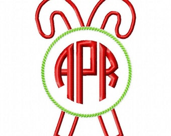 Monogram Candy Cane Applique Embroidery Design, Christmas/Holiday Design, 4x4, 5x7, 6x10 Hoop, Instant Download