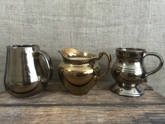 Copper Jug - Bronze Jugs - Prinknash and Gray's Pottery Lustreware Jugs - Metallic Interior Home Decor - Set of 3 Copper Jugs