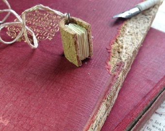 Vegan Cork Book/Journal Necklace, Handmade, Recycled