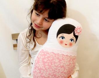 """Babushka matryoshka softie plush doll pillow gift, large, 42cm/16.5"""" tall, light pink and white"""