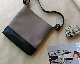SALE Mink brown and black hobo slouch shoulder vegan bag handbag