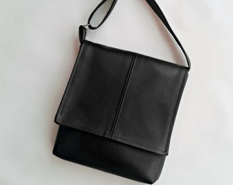 Charcoal grey faux leather vegan messenger cross body bag