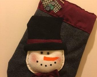 Felt Mitten With Snowman Door Hanging