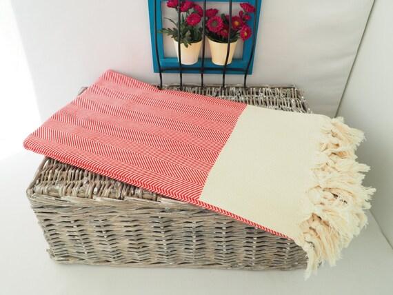 Red Chevron Pattern Turkish Towelred Chevron Beach Blanket