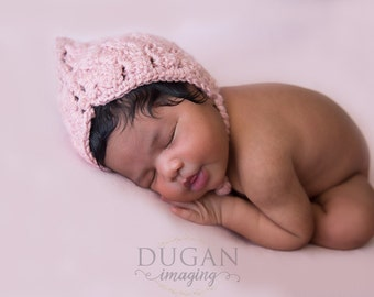 Newborn girl pixie bonnet, newborn bonnet, baby girl hat, newborn girl photo prop, newborn girl outfit, pixie bonnet