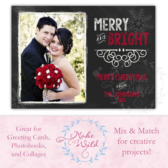 Chalkboard Card Wedding Announcement Christmas Card 4x6