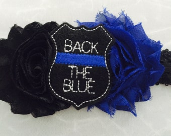 Back the Blue Headband - Police Baby headband - Police Awareness headband - Baby shower gift idea