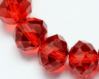 "Red 4x3mm Faceted Rondelle Glass Crystal Beads (18"" strand)"