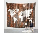 Wood World map tapestry, Wall tapestry, Modern World map, Wood planks world map, Rustic decor, Gift for traveler Modern map World map canvas