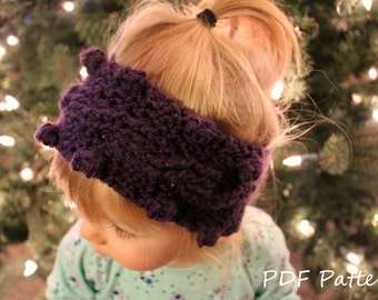 Crochet  Pattern Ear Warmer-Crochet Headband-Cable Crochet Pattern with Buttons-Digital PDF Pattern