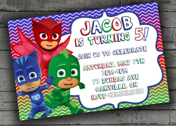 PJ Masks Party Invitations Kids Birthday by PartyPrintableInvite