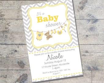 Washing Line Baby Shower invitation  (YELLOW) DIY Printable Baby shower Washing line theme baby shower neutral baby shower invitation