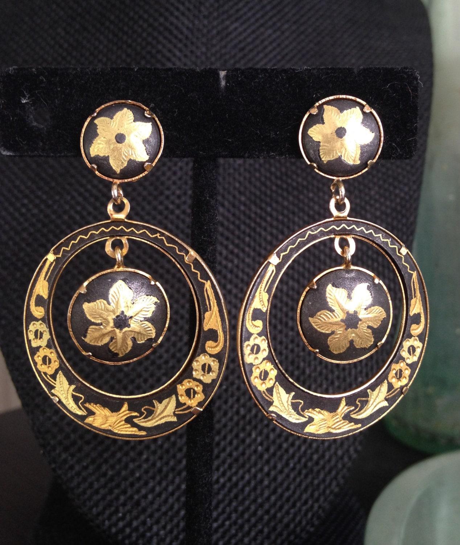 Vintage Damascene Earrings 1980s damascene earrings Spanish | 1268 x 1500 jpeg 390kB