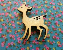 DARLING DEER - Copper and gold glitter sparkle chic deer bambi hand painted wooden pin brooch