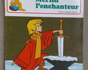 """DISNEY book in french 1976 / """"Merlin the Wizard"""" Walt Disney / book for little ones with color illustrations"""
