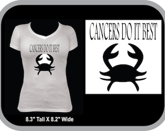 Zodiac Sign, Cancer White T-shirt,Cool Saying, Great Birthday Present,Black glitter