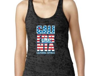 California Flag  Women's Burnout Tank