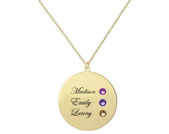 Personalized Names Disc Pendant Necklace in 18k Yellow Gold Plated 925 Sterling Silver With the names and birthstones of your loved, Gifts