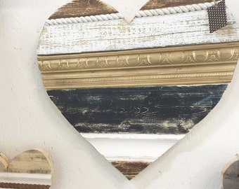 "24"" Handmade Reclaimed Wood Heart with Reclaimed Trim"