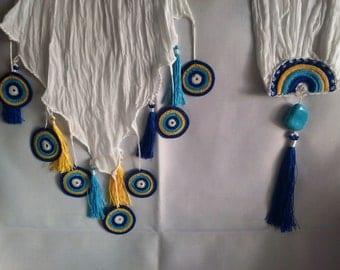 Handmade Anatolian Scarf with lace / Anatolian traditional art: Oya / Organic cotton foulard / Unique gift
