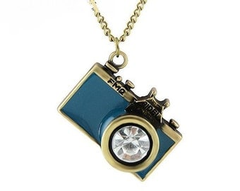 1 Blue Camera Pendant with Crystal Rhinestone 32mm x 23mm - 40J