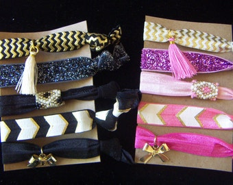 Hair Ties Girl's  Elastic Hair  Tie Ponytail Holders Black Gold Glittery Chevron With Beads Charms Tassel- Adorable! 5pcs