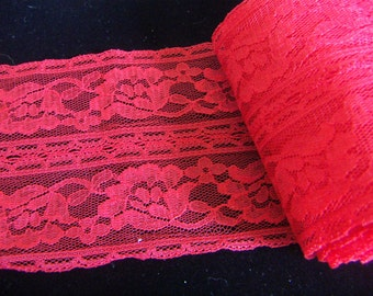 Red Lace Trim Rose Flower   Double Edged 3-1/4 inch Wide Elegant Red Lace Ribbon  Fabric DIY Garment Sewing Accessories