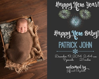Birth announcement- New Years announcement- Boy or Girl- Digital file